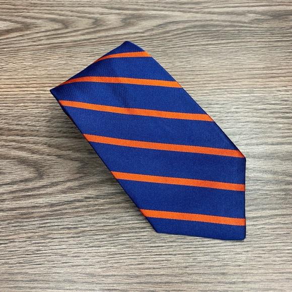 J. Crew Other - J. Crew Blue w/ Orange Stripe Silk Tie